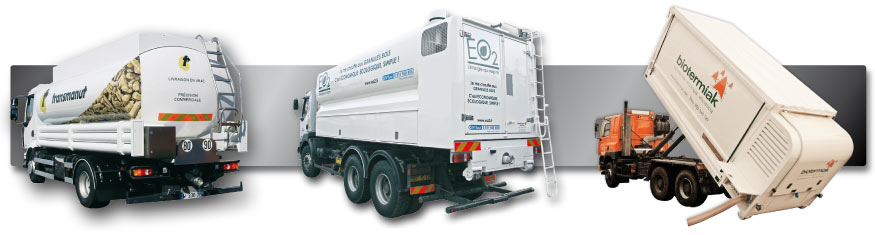 camions souffleurs pellets, véhicules souffleurs plaquettes bois, caissons déposables bois déchiqueté, granulés